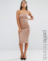 Boohoo Petite Bandeau Leather Look Midi Dress - Кэмел