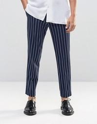 Укороченные брюки слим в тонкую полоску ASOS - Темно-синий