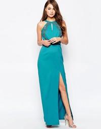 Платье макси с отделкой на халтере Little Mistress - Сине-зеленый