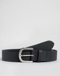 Кожаный строгий ремень с пряжкой в форме подковы ASOS - Черный