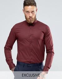Стретчевая рубашка скинни Only & Sons - Burgundy