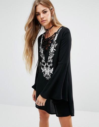 Богемное платье со шнуровкой спереди и вышивкой Lira - Черный
