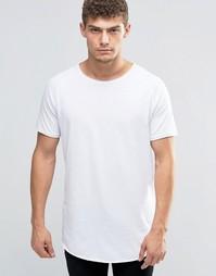 Удлиненная футболка с необработанным краем Jack & Jones - Белый
