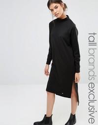 Трикотажное платье миди с длинными рукавами и высокой горловиной Noisy