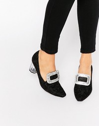 Туфли на прозрачном каблуке Jeffrey Campbell - Black embroidery fab