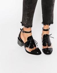 Кожаные туфли на среднем каблуке с прозрачной вставкой Jeffrey Campbel