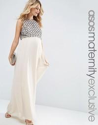 Декорированное платье макси для беременных ASOS Maternity - Телесный