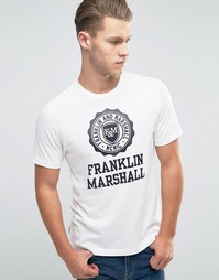 Футболка с крупным логотипом Franklin and Marshall - Античный белый