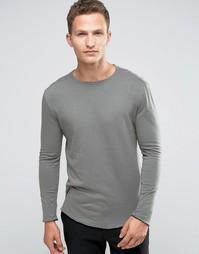 Лонгслив с необработанными краями Selected Homme - Серый