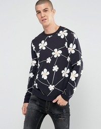 ASOS Jumper With All Over Floral Design - Темно-синий