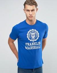 Футболка с крупным логотипом Franklin and Marshall - Academy blue