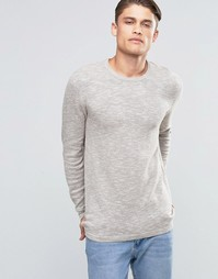 Esprit Slubby Crew Neck Jumper - Light beige