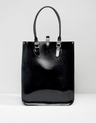 Сумка-тоут The Leather Satchel Company - Patent pitch black