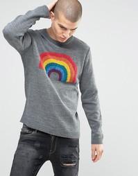 Джемпер с радугой из пряжи букле ASOS - Серый