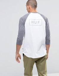 Футболка с рукавами реглан 3/4 и принтом логотипа сзади HUF