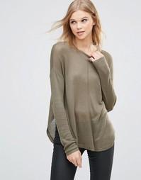 Трикотажный пуловер с необработанными краями b.Young - Оливковый