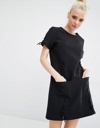 Платье со шнуровками и короткими рукавами Kendall + Kylie - Черный