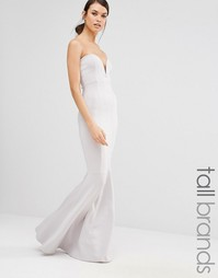 Платье макси с юбкой-годе Missguided Tall - Серый лед