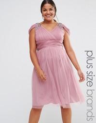 Платье миди с открытыми плечами и отделкой Little Mistress Plus