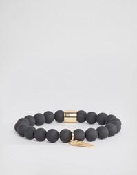 Черный матовый браслет с бисером и золотистой отделкой Chained & Able