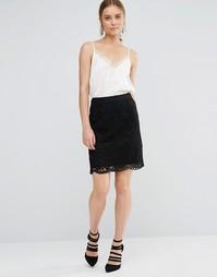 Кружевная юбка миди Uttam Boutique - Черный