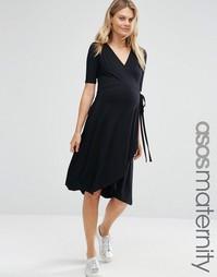 Чайное платье миди для беременных с запахом спереди ASOS Maternity