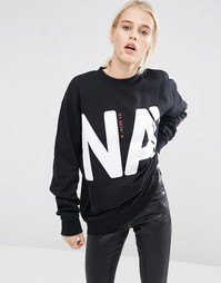ASOS Sweat With Block Print In Oversized Boxy Fit - Черный