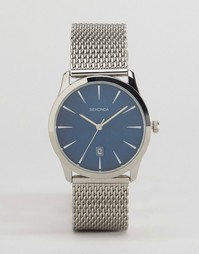Серебристые часы с сетчатым ремешком и синим циферблатом Sekonda