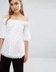 Style Mafia Embroidered Off Shoulder Top - Белый