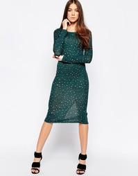 Облегающее платье миди с леопардовым принтом Madam Rage - Зеленый