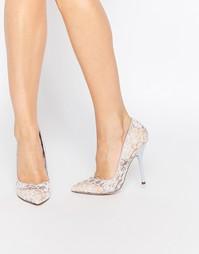 Розово-голубые кружевные туфли‑лодочки с острым носком Paper Dolls