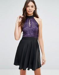 Короткое приталенное платье с кружевным верхом Jasmine