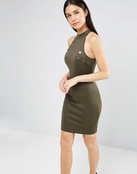 Облегающее платье с высокой горловиной и люверсами AX Paris - Хаки