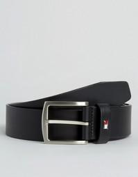Черный кожаный ремень с логотипом Tommy Hilfiger Denton - Черный
