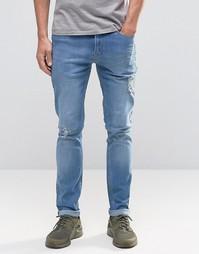 Зауженные джинсы из выбеленного денима Kubban - Синий