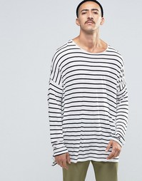 ASOS Viscose Stripe Extreme Oversized Long Sleeve T-Shirt