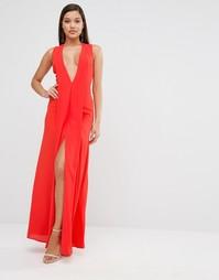 Платье макси с глубоким вырезом AQAQ Hayes - Dubarry coral