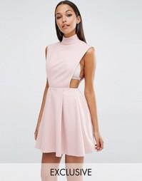 Платье мини с высоким воротом AQAQ Sorah - Приглушенный розовый
