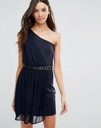 Платье на одно плечо с отделкой на талии Jasmine - Темно-синий
