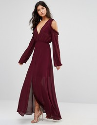 Платье макси с открытыми плечами и шнуровкой Foxiedox - Burgundy
