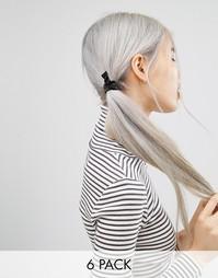 6 резинок для волос ASOS Basics - Черный