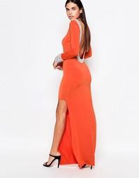 Платье макси с длинными рукавами и отделкой горловины и манжет Rare