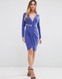Платье с длинными рукавами и запахом с золотистой пряжкой Jessica Wrig
