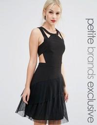 Приталенное платье с оборками и ремешками True Decadence Petite