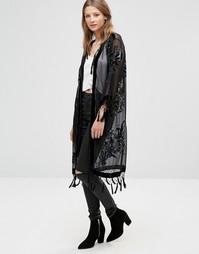 Длинный жакет Silk Devore - Черный Jayley