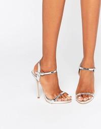 Серебристые сандалии на каблуке с ремешками Public Desire Sparra