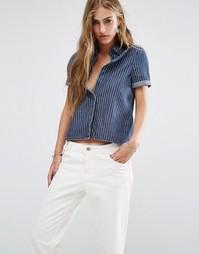 Джинсовая рубашка в полоску с разрезом на спинке Noisy May