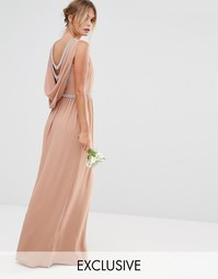 TFNC WEDDING Drape Back Maxi Dress - Серо-коричневый