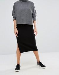 Monki Grid Textured Jersey Midi Skirt - Черный
