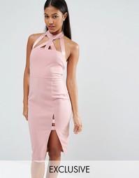 Платье-футляр миди с бретельками NaaNaa - Пыльно-розовые румяна